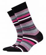 Burlington Stripe Damen Socken, 36-41, Schwarz, Streifen, 20799-300001
