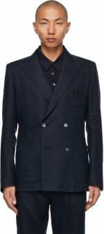 Dolce & Gabbana Navy Linen Double-Breasted Blazer