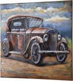 """GILDE GALLERY Metallbild """"Bild Oldtimer I"""", Auto (1 Stück), handgearbeitetes Bild, 60x60 cm, aus Metall, Motiv Oldtimer, Wohnzimmer"""