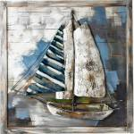 """GILDE GALLERY Metallbild """"Kunstobjekt Admiral's Cup"""", Boote & Schiffe (1 Stück), handgearbeitetes 3D-Bild, 80x80 cm, aus Metall, Motiv Segelboot, maritim, Wohnzimmer"""