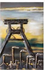 """GILDE GALLERY Metallbild """"Kunstobjekt Glück Auf"""", Landschaft (1 Stück), handgearbeitetes Bild, 80x120 cm, aus Metall, Motiv Zeche, Wohnzimmer"""