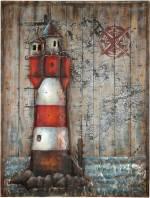 """GILDE GALLERY Metallbild """"Kunstobjekt Leuchtturm"""", Leuchtturm (1 Stück), handgearbeitetes 3D-Bild, 75x100 cm, aus Metall, maritim, Wohnzimmer"""