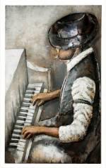 """GILDE GALLERY Metallbild """"Kunstobjekt Rhythm And Blues"""", Musiker (1 Stück), handgearbeitetes 3D-Bild, 80x120 cm, aus Metall, Motiv Klavierspieler, Wohnzimmer"""