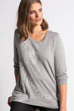 Grosse Grössen Jacquard-Pullover, Damen, grau, Größe: 46/48, Viskose/Synthetische Fasern, Ulla Popken