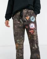 Jaded London - Jogginghose mit Aufnähern und Woodland-Print-Braun