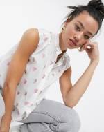 Love Moschino - Weiße Bluse mit Flügelärmeln und Herzstickerei