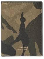 TOM FORD - Camouflage-Print Full-Grain Leather Bifold Cardholder - Men - Gray