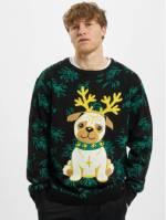 Urban Classics Männer Pullover Pug Christmas in schwarz