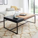 Wohnzimmer Tisch in Schwarz Metall Asteiche Massivholz