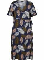 Zizzi Wickelkleid Damen Große Größen Wickelkleid Elegant Kurzarm Blumenmuster Kleid