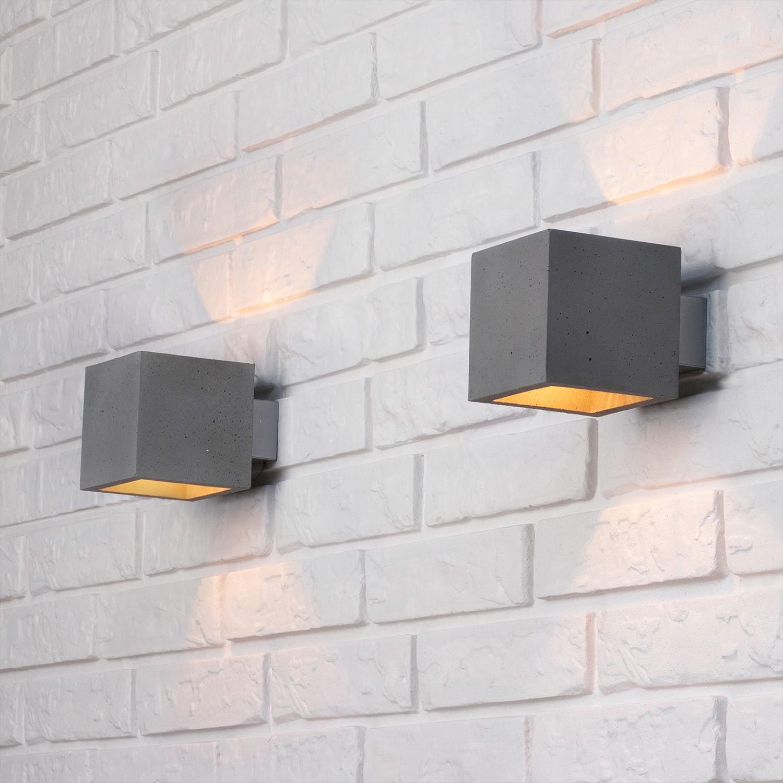 home24 Spot Light LED-Wandleuchte Block I Glühlampe Modern Grau Keramik 1-flammig G9 13x13x13 cm (BxHxT)