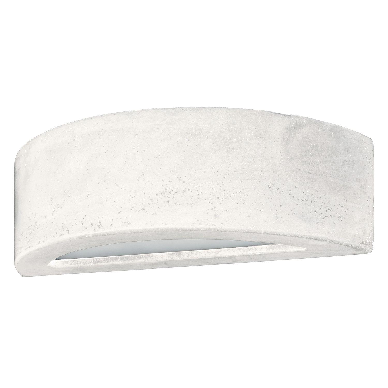 home24 Spot Light LED-Wandleuchte Block III Glühlampe Modern Weiß Keramik/Glas 1-flammig G9 35x10x14 cm (BxHxT)