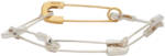 AMBUSH SIlver & Gold Safety Pin Link Bracelet