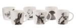 Animals Becher / 6er Set - Porzellan - Pols Potten - Weiß/Schwarz