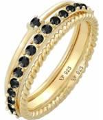 Elli, Ring Stapelring Kristalle 3er Set 925 Silber in gold, Schmuck für Damen
