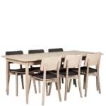 Esszimmer Sitzgruppe aus Eiche White Wash massiv Skandi Design (siebenteilig)