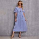 Gingham Print Smock Dress