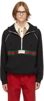 Gucci Black French Terry Half-Zip Hoodie