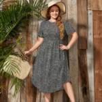 Plus Curved Hem Allover Print Dress