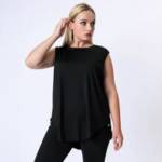Plus Solid Curved Hem Sports Top
