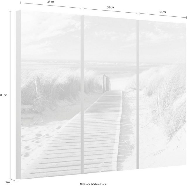 """Reinders! Wandbild """"Dünen Weg zum Meer - Wandbild"""", (Set)"""