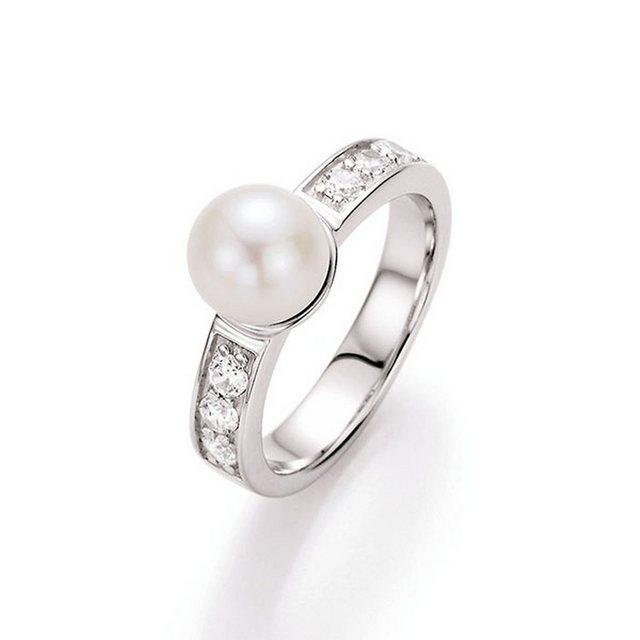 """Smart Jewel Perlenring """"zart mit Süßwasserperle und Zirkonia, Silber 925"""""""