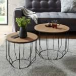 Sofa Beistelltisch Set in Eichefarben furniert und Schwarz rund (zweiteilig)