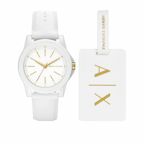 Uhr Ladies Silicone Watch and Luggage Tag Gift Set weiß