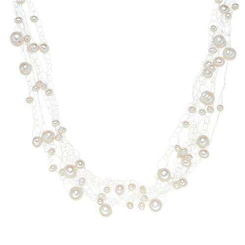 Valero Pearls Perlenkette Sterling Silber Süßwasser-Zuchtperle, weiß, 42.0 cm Basiskette + 5.0 Verlängerung