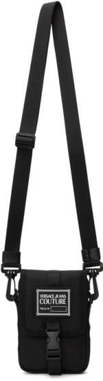 Versace Jeans Couture Black Small Range Brand Stripe Messenger Bag