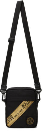 Versace Jeans Couture Black & Gold Small Etichetta Tape Messenger Bag