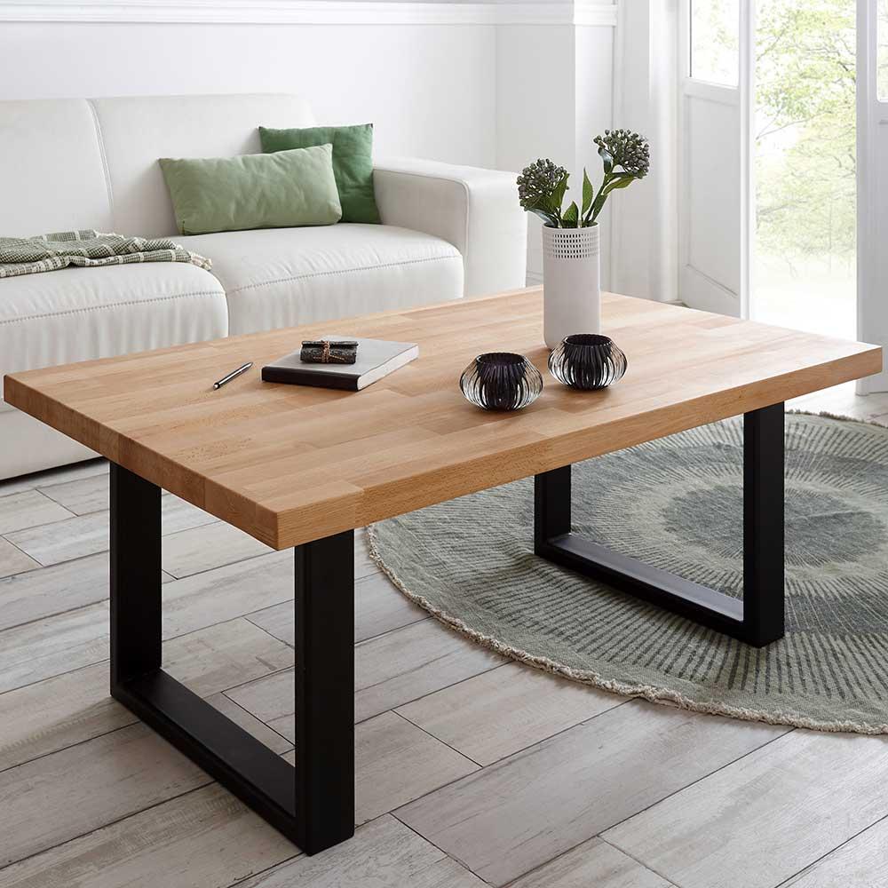 Wohnzimmer Tisch aus Kernbuche Massivholz Bügelgestell aus schwarzem Stahl