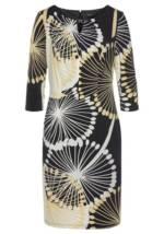 select! By Hermann Lange Jerseykleid elegant, bedruckt und mit kleinem Dekoelement am Ausschnitt