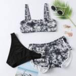 3pack Tie Dye Letter Tape Bikini Swimsuit