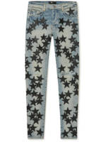 AMIRI - Chemist Skinny-Fit Leather-Appliquéd Jeans - Men - Blue - UK/US 30