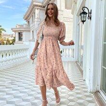 Allover Floral Print Square Neck Shirred Dress