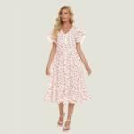 Allover Print Petal Sleeve Drawstring Waist Ruffle Hem Dress