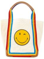 Anya Hindmarch 'Smiley' Shopper mit Regenbogenstreifen - Nude