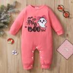 Baby Girl Letter & Cartoon Graphic Jumpsuit