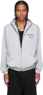 Balenciaga Grey RuPaul Edition Wide Zip-Up Hoodie