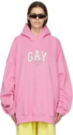 Balenciaga Pink 'Pride' Boxy Hoodie