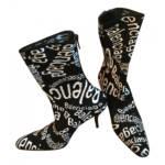 Balenciaga Slash Logo cloth ankle boots
