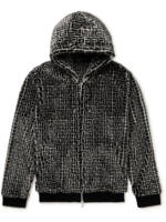 Balmain - Monogrammed Faux Fur Zip-Up Hoodie - Men - Black - M