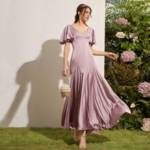 Butterfly Sleeve Satin Dress