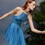 Contrast Lace Pleated Curved Hem Crisscross Backless Dress
