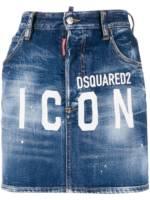 Dsquared2 'ICON' Jeansrock mit Logo - Blau