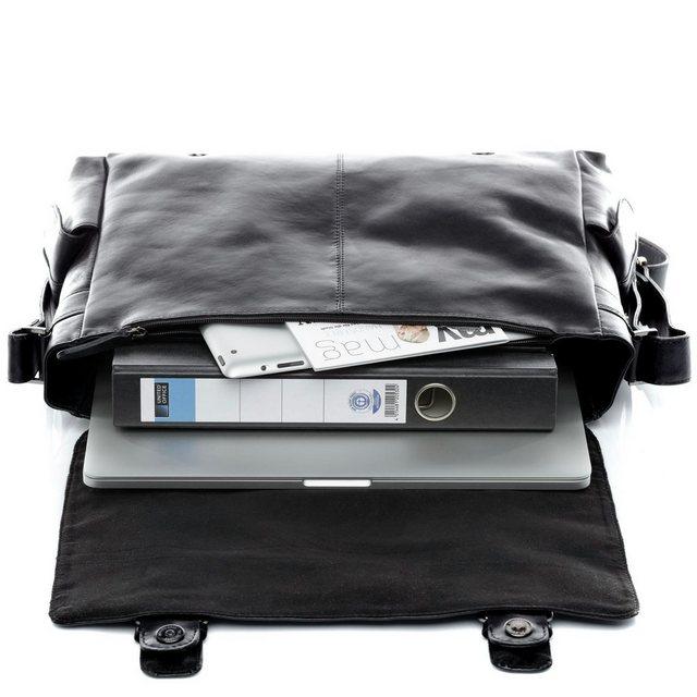 """FEYNSINN Messenger Bag """"ASHTON"""", Umhängetasche echt Leder schwarz"""