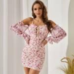 Floral Print Off Shoulder Lace Up Front Mesh Bodycon Dress