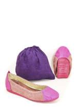 Foldy Ballerinas + Tasche, Leder, faltbar rosa
