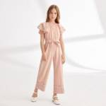 Girls Butterfly Sleeve Self Belted Floral Jumpsuit